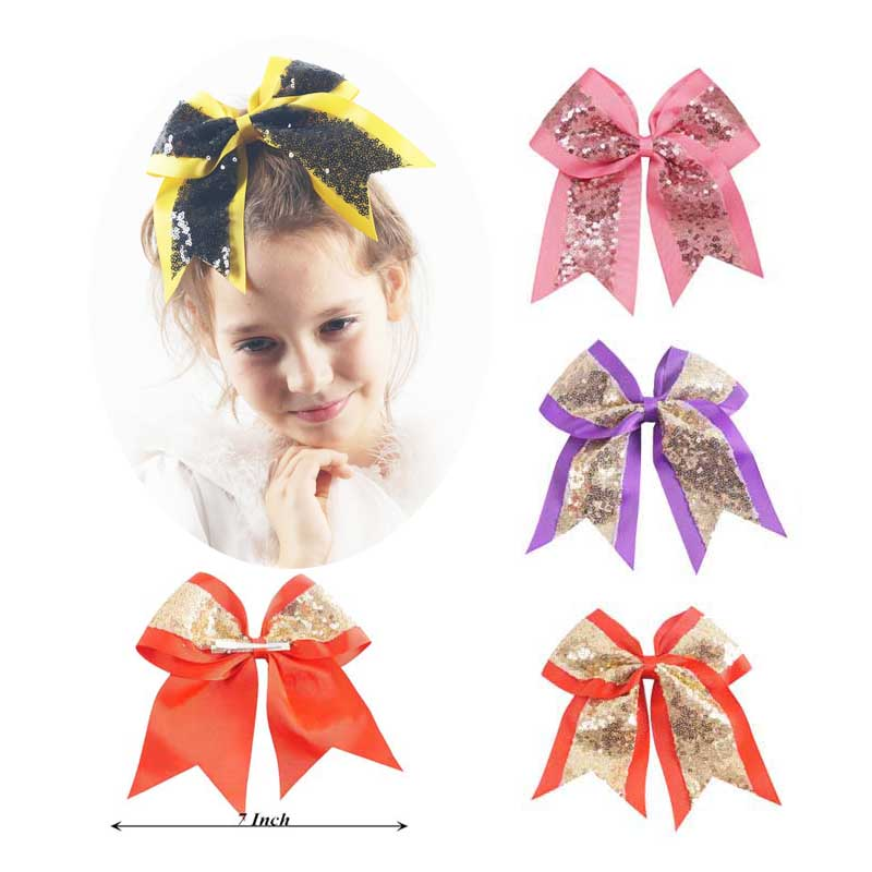 2 Pcs 7 Inch Big Sequin Cheer Bows Handmade Bling Girl's Cheerleading Hair Bow With Clips Hair Accessories For Girls Barrettes 6pcs lot 7 inch sequin bling large cheer bowknot elastic hair band girls cheerleading for girl