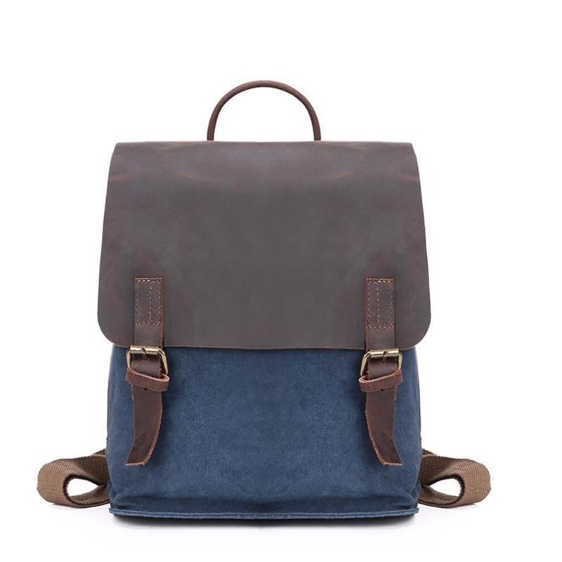 Фотография YUPINXUAN Vintage Canvas+Leather Backpacks Women Large Capacity Travel Daypacks Girls Big Rucksacks Students School Bag Mochilas