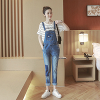 maternity jeans clothes Spring Autumn stylish hole maternity pregnant women denim overalls pregnant women care belly pants E599