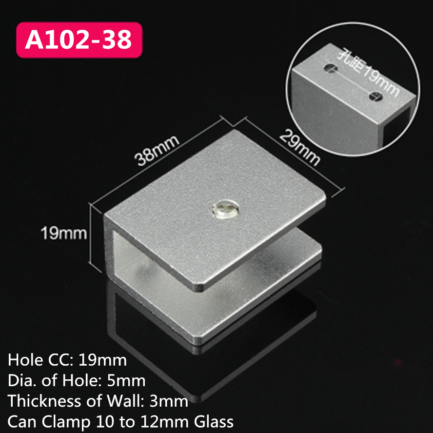 10pcs A102-38 For 10 to 12mm glass board Rectangular Shape Aluminum Glass Clamps Shelves Support Bracket Clips