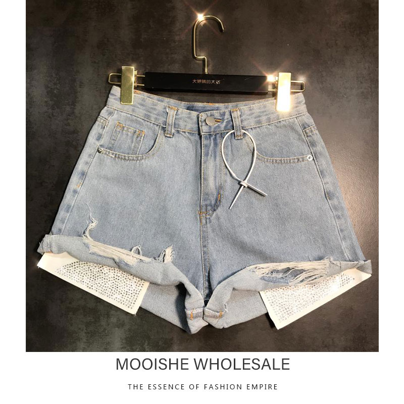 2019 Summer New Exposed Pocket Rhinestone Hot Drilling Hole Mahogany Denim   Shorts   hotPants Women