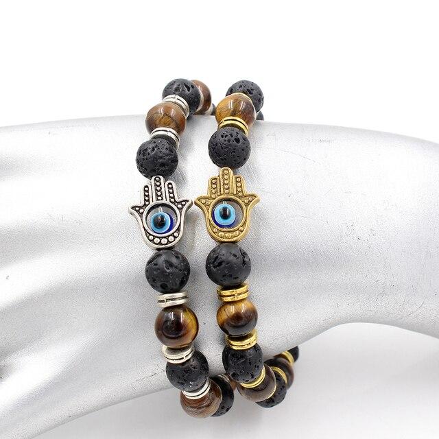 Γυναικείο βραχιόλι με ημιπολύτιμες πέτρες μάτι της τίγρης λάβα χέρι της φατιμά ενεργειακό κόσμημα φυλαχτό