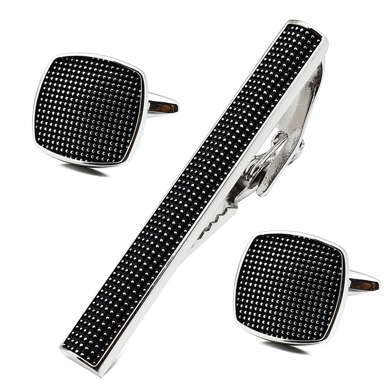Square Black Enamel Man Shirt Cuff Links and Tie Bar Clips Set for - Fashion Jewelry - Photo 1