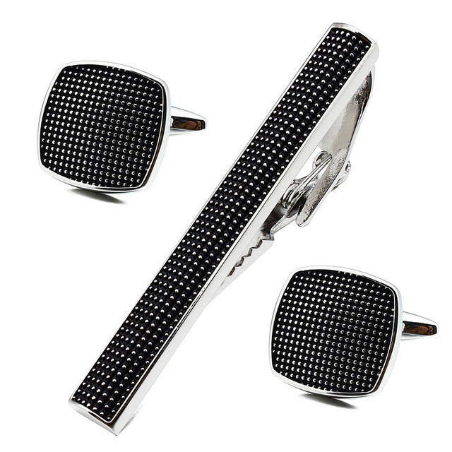 Square Black Enamel Silver Man Shirt Cuff Links and Tie Bar Clips Set for Business Accessories Best Gift for Man