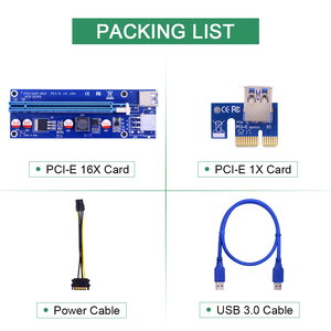 Image 5 - CHIPAL 10PCS VER009S PCI E Riser Card PCIE 1X to 16X Extender with LED Indicator + 0.6M USB 3.0 Cable / 6Pin Power Cord