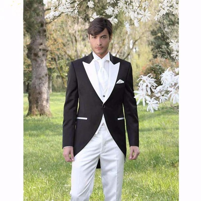 806 Italian Morning Style Gentleman men Suit Black And White Groom Tuxedos 3 Piece Mens Wedding Prom Suits (Jacket+Pants+Vest)