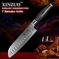 XINZUO 7 Inches Santoku Knife Japanese VG10 Damascus Kitchen Chef Knife Japanese Chef Knife Wood Handle