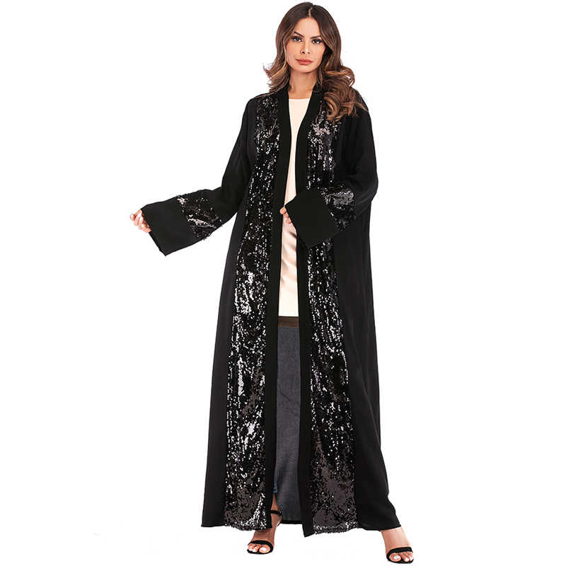 Черное платье Дубая ислам кардиган с пайетками мусульманское платье ХИДЖАБ КАФТАН Оман Катара Абая для женщин турецкий ислам ic одежда