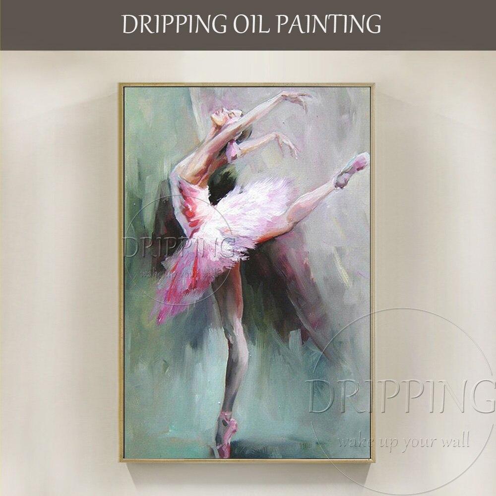 Équipe de peintre qualifiée peinte à la main de haute qualité Impression ballerine Figure peinture à l'huile à la main Ballet dame danseur peinture à l'huile
