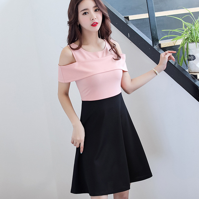 5647969bc14 Summer Dress Women clothes Short Sleeve Hollow Out Patchwork Dress Mini  Casual Dresses O-Neck Korean Cute student dress Vestidos