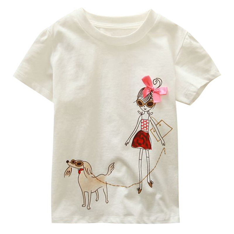 18 Months-6T Baby Girls T-Shirt Summer Children's Tops Clothing Cute Cartoon Baby Girl And Dog Creative T-Shirt
