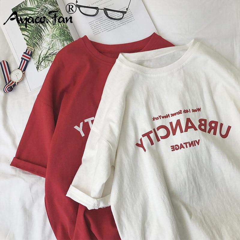 Harajuku נשים חולצות חדשה 2019 קיץ מצחיק מכתב הדפסת היפ הופ Loose חולצה בנות תלמיד Streetwear מקרית ליידי חולצות Tees