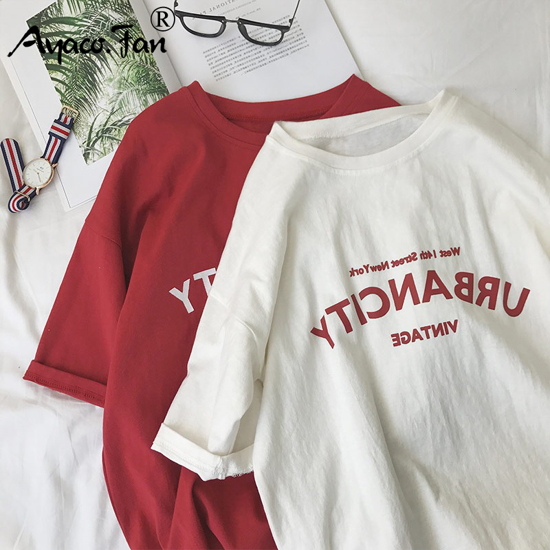 Harajuku Women T-shirts New 2019 Summer Funny Letter Print Hip Hop Loose T-shirt Girls Student Streetwear Casual Lady Tops Tees