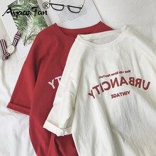 Harajuku Women T-shirts New 2019 Summer Funny Letter Print Hip Hop Loose T-shirt Girls Student Stree