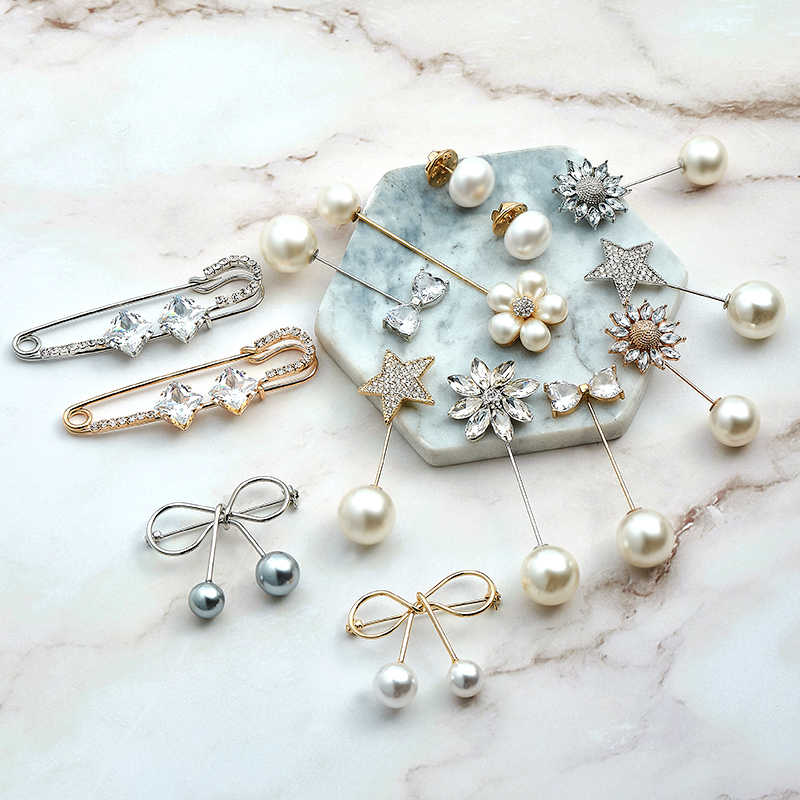 SHUANGR Fashion Pins Woman/Girl Imitation Pearl Brooch Classic Charm Bowknot Accessories Simple Double Pearls Brooches Jewelry