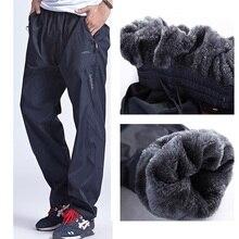 Grandwish homens inverno sweatpants lã quente calças grossas dos homens solto calças de cintura elástica calças casuais com bolsos, da897