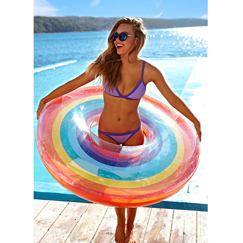 120cm Giant Inflatable Rainbow Swimming Ring 2018 Summer Pool Float For Adult Children Water Floating Holiday Party Toys Piscina