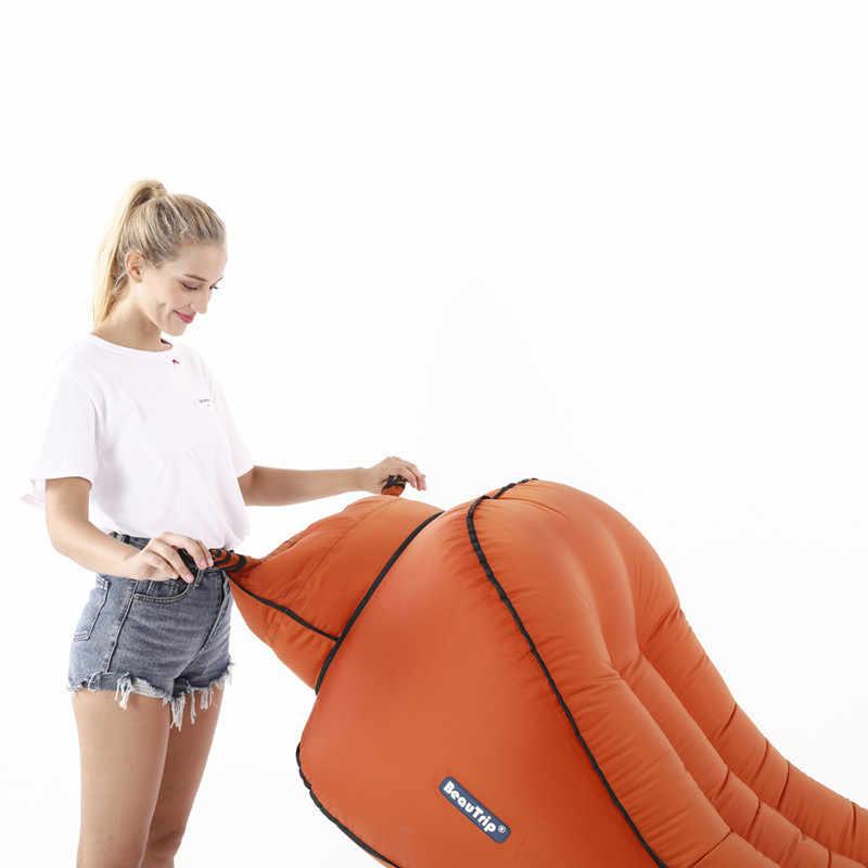 BEAUTRIP Espreguiçadeira Inflável Saco de Dormir Rede Airbag Ar Airbed Colchão de Acampamento Ao Ar Livre Cadeira de Praia Preguiçoso Saco Cama Piscina Float