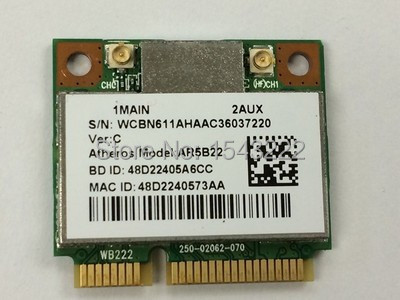 Atheros AR9462 AR5B22 WB222 Half Mini PCIe  Bluetooth4.0  WLAN Wifi Wireless   CardAtheros AR9462 AR5B22 WB222 Half Mini PCIe  Bluetooth4.0  WLAN Wifi Wireless   Card
