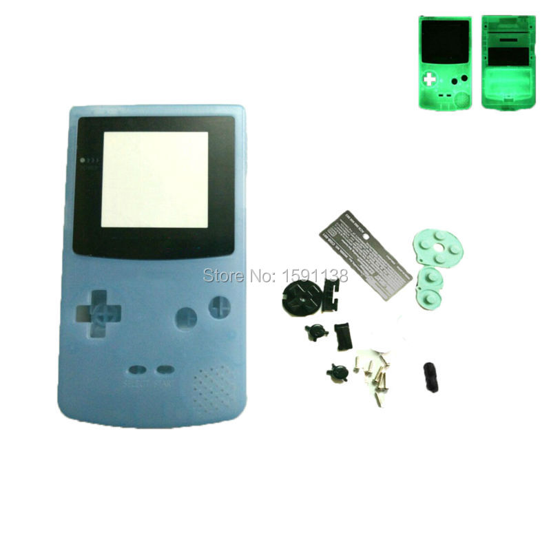 Us 23 5 Noctilucent Night Light Luminous Blue Housing Shell Cover For Gameboycolor For Game Console Case With Screen Lens Rubber Pads In Cases From