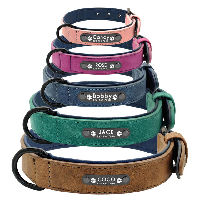 Personalized Leather Dog Collar Leash Set Customized 2 Layer For Small Medium Large Pitbull 3