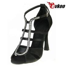 Evkoodance Black Brown With Rhinestone Open Toe 10 cm Heel Height Professional Dancing Latin Shoes For Women Evkoo-444