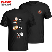 An Impossible Fusion Of Saitama And Venom T Shirt Hip Hop Print Rock T-shirt Style Creative Unisex Cotton Black Double Sided Tee