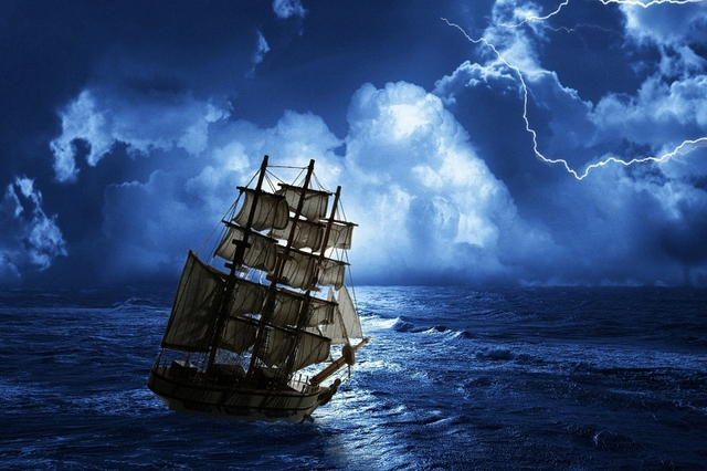 Pirate Ship on the Stormy High Seas, Ocean Picture Poster Art wall