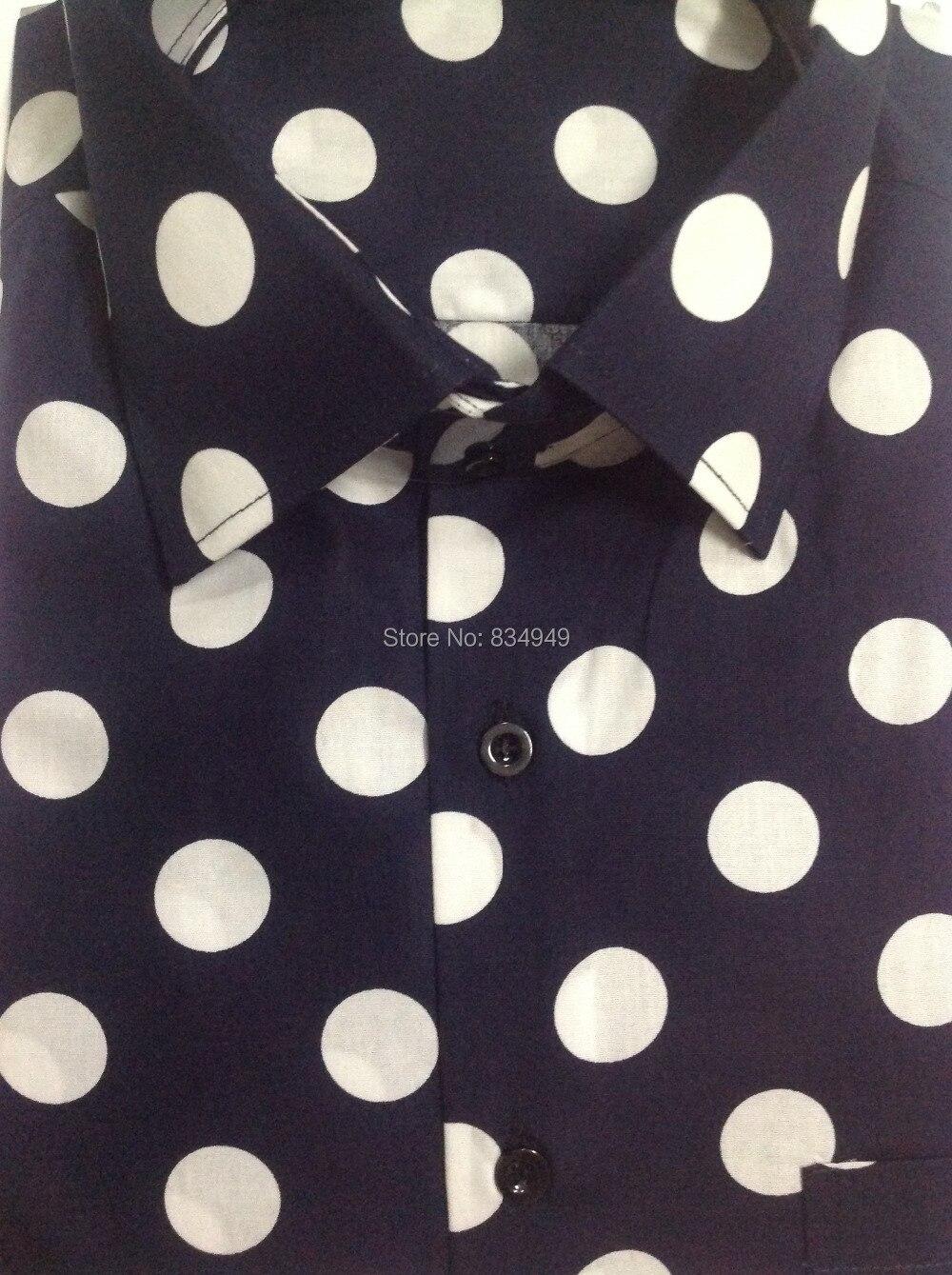 Men/'s 100/% Cotton Polka Dot Design Dress Shirt Black//White White//Navy Size 15~20