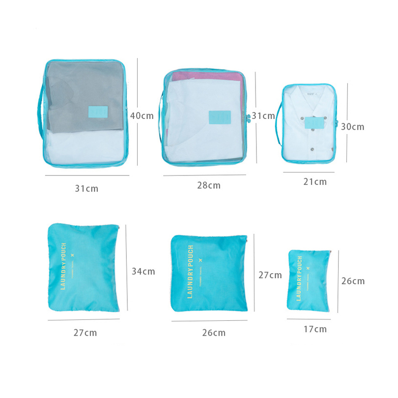 Travel Packing Cubes Fashion Nylon Luggage Organizer Bag 6 PCS/Set Large Capacity Waterproof Suitcase ClothesTidy Pouch Durable