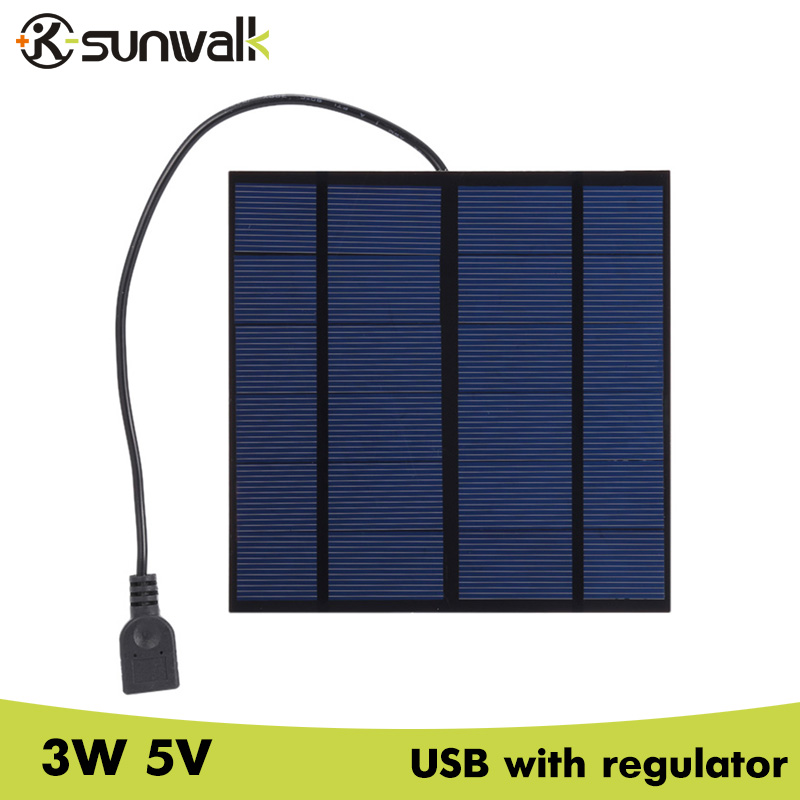 SUNWALK Portable 3W 5V Mini Polysilicon Solar Panel Charger USB 500mA Solar Charger with Regulator Tube 145*145mm
