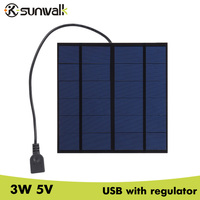 Sunwalkポータブル3ワット5ボルトミニポリシリコンソーラーパネル充電器usb 500maソーラー充電器レギュレータ管145*145ミリメートル