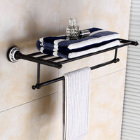 Luxury black towel rack wall mounted copper paper towel net ceramic base soap dish hook bathroom hardware kit
