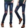 Blanqueado Washed Skinny Jeans Femeninos Lápiz Pantalones de Mezclilla Azul Pantalones Lápiz Delgado Del Bordado de La Vendimia Para la Mujer