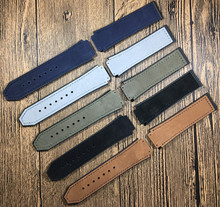 25*19mm Crazy horse leather Nature rubber silicone watchband watch band strap for Hublot strap for Big bang belt accessories