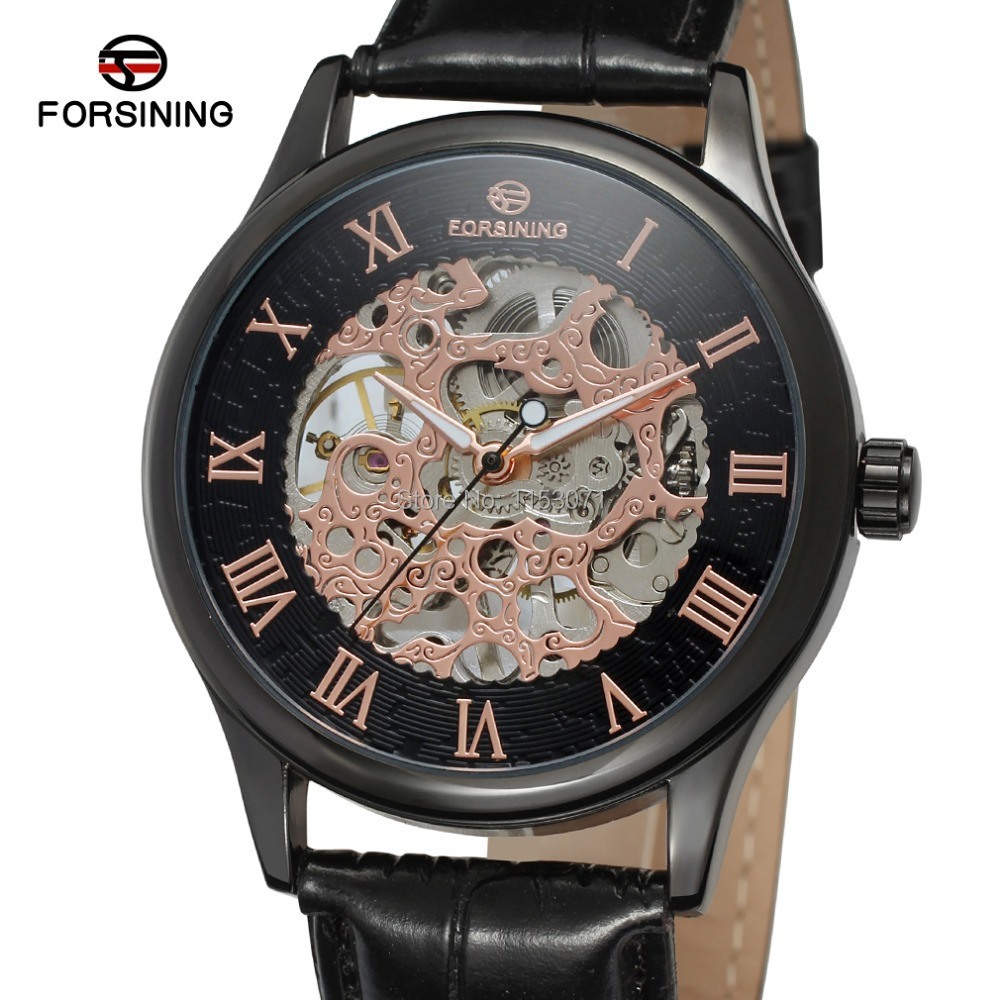 2015 NEW! FORSINING FSG8094M3B2 men watch black color case&dial with rose gold color roman numbers black genuine  leather strap  fossil horloge zwart heren