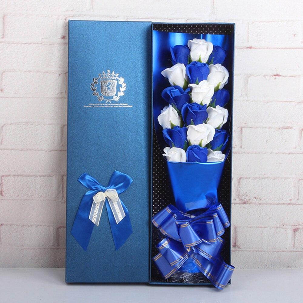 Мыло в Форме Розы 2 цвета межфазный букет роз красивый подарок мыло в коробке Роза романтическое украшение для дома 18 шт - Цвет: blue