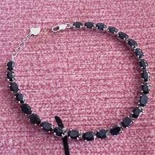 Новые приходят природный сапфир браслет-цепочка браслеты, черный сапфир ювелирных изделий с 925 серебряных ссылка браслет для женщины