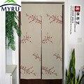 MYRU Японский современный занавес для дверей с вышивкой  фэн-шуй  садовый полузанавес с цветком вишни  дверной занавес