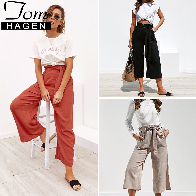 632f3443757a Detail Feedback Questions about 2019 Fashion Women s Casual High Waisted  Flared Trousers Spring Sexy Loose Wide Leg Pants Belt Women Black  Streetwear ...