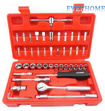 46 1/4 metric Socket Sets sleeve head chrome vanadium steel sleeve wrench set,free shipping free ship 44pcs set chrome vanadium steel amphibious socket wrench set spanner car ship machine repair service tools kit