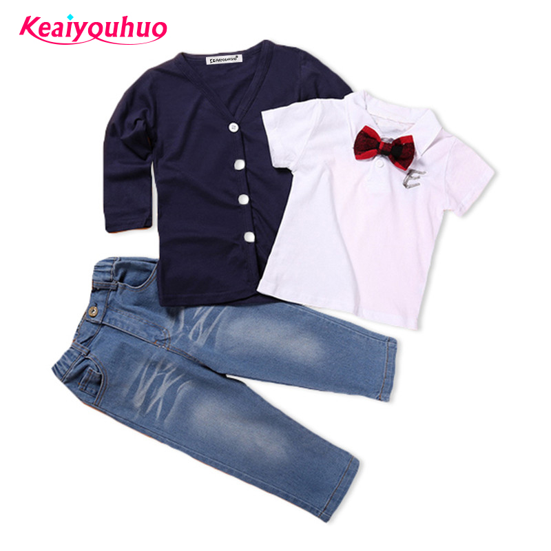 2-7 yrs Boys Clothing Set 2017 Spring Children Boys Clothes Kids Outwear+T-shirt +Pants 3 Pcs Toddler Boy Gentleman Suits