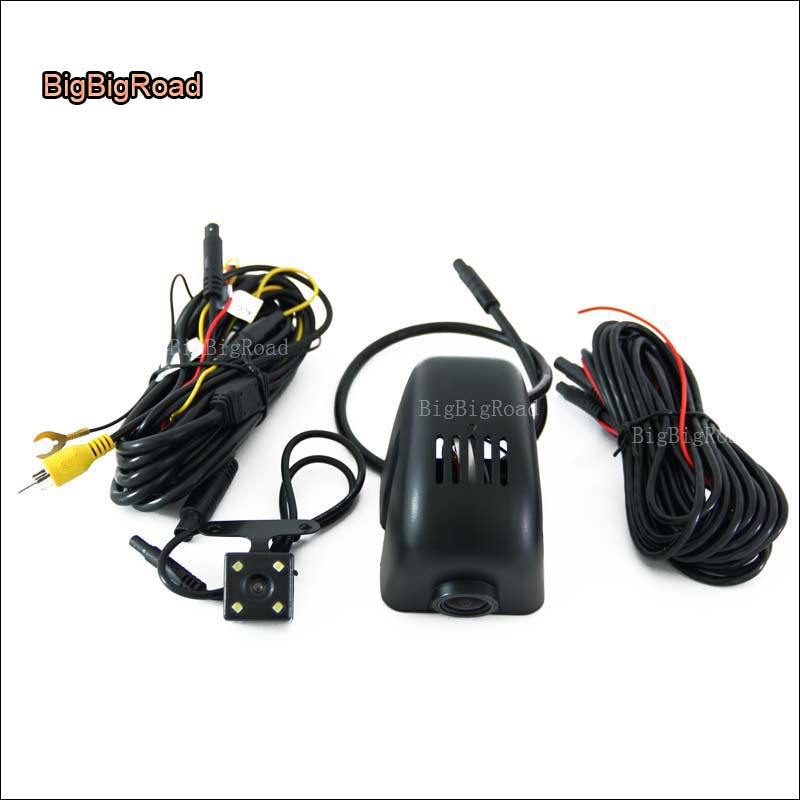 BigBigRoad For Audi 2016 Q7 Q3 Q5 / A3 sedan / A4L 2017 wifi Car DVR with Two cameras Dash Cam Video Recorder Black Box g-sensor bigbigroad for audi a3 a4 a4l a5 a6 q3 q5 q7 2016 2017 2018 car dvr video recorder wifi camera car black box dashcam fhd 1080p