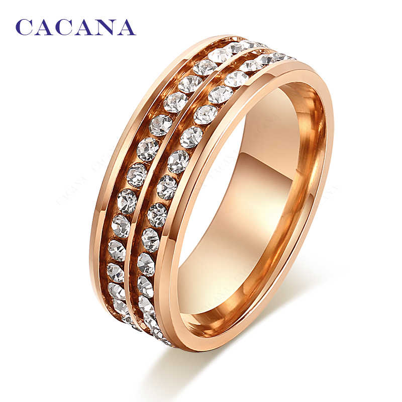 CACANA  Stainless Steel Rings For Women Golden Double Row CZ Personalized Custom  Fashion Jewelry Wholesale NO.R152