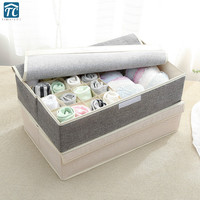 17 Grids Solid Color Cotton Linen Storage Box Covered Underwear Socks Foldable Student Dormitory Drawer Home Clothing Rectangle|Drawer Organizers| |  -