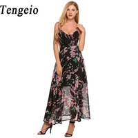 Tengeio Spaghetti Strap Backless Floral Dress See Throug Women Print Sleeveless Summer Maxi Chiffon Dress Robe