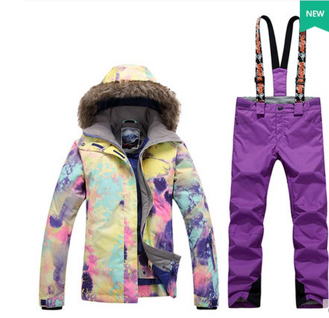 Womens purple ski suit female skiing snowboarding suit violet ski jacket and violet ski bib pants suspender trousers overallsWomens purple ski suit female skiing snowboarding suit violet ski jacket and violet ski bib pants suspender trousers overalls