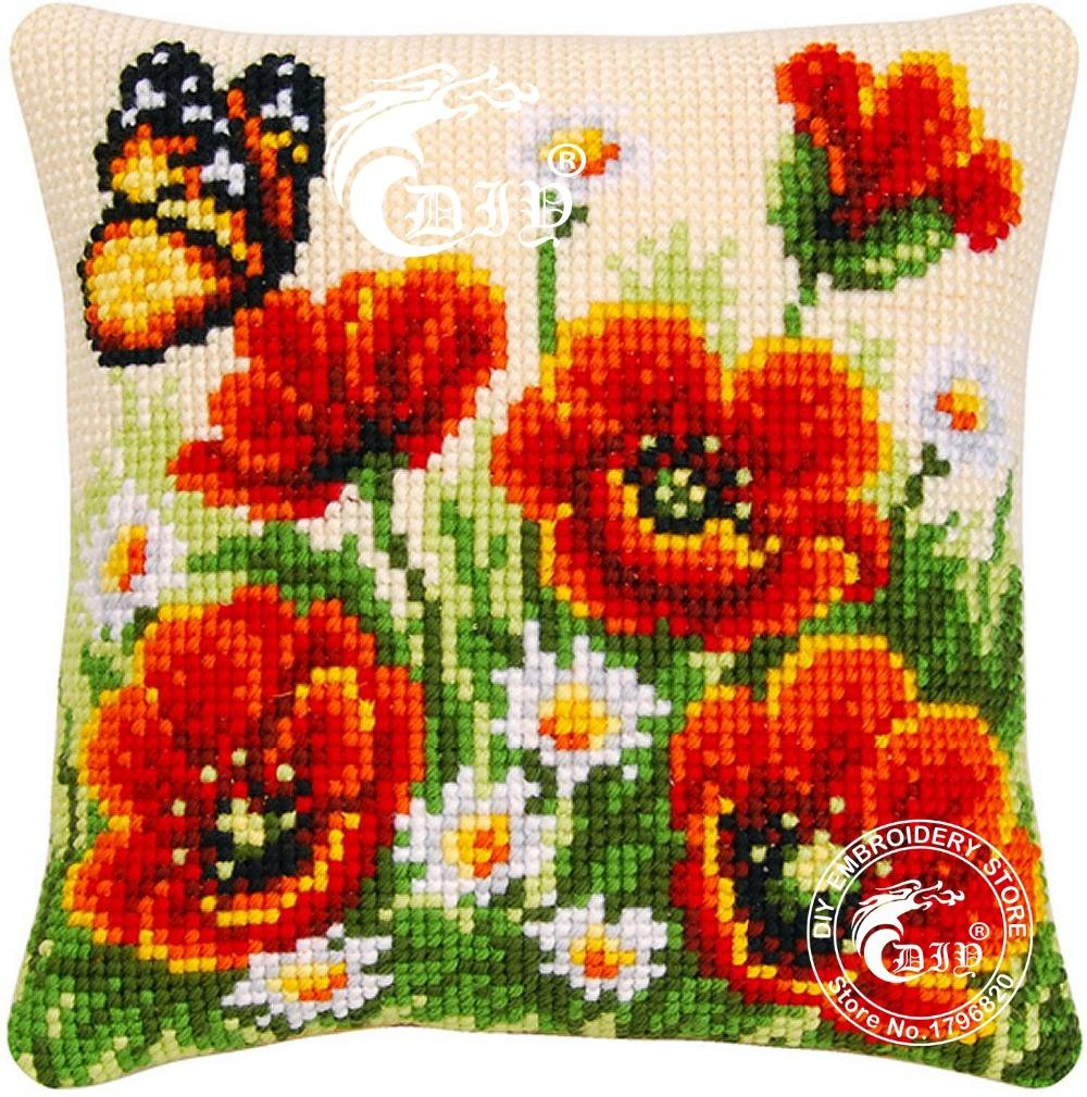 Cross-stitch Cushion Kit Chunky Pillow Case 100% Acrylic Yarn Kits for Embroidery Color Cotton Canvas Poppy Butterfly Needlework no frame canvas