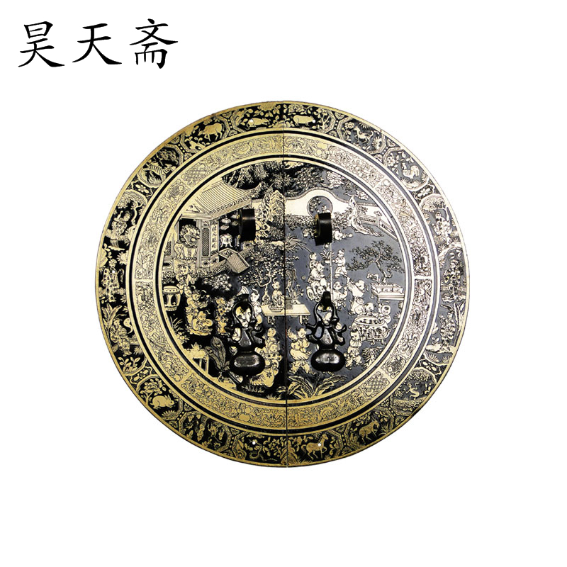 [Haotian vegetarian] Chinese antique cabinet drawer handle copper HTB-152 section diameter 24CM Beizitou [haotian vegetarian] antique copper door handle chinese handle htb 179 custom models diameter 14cm