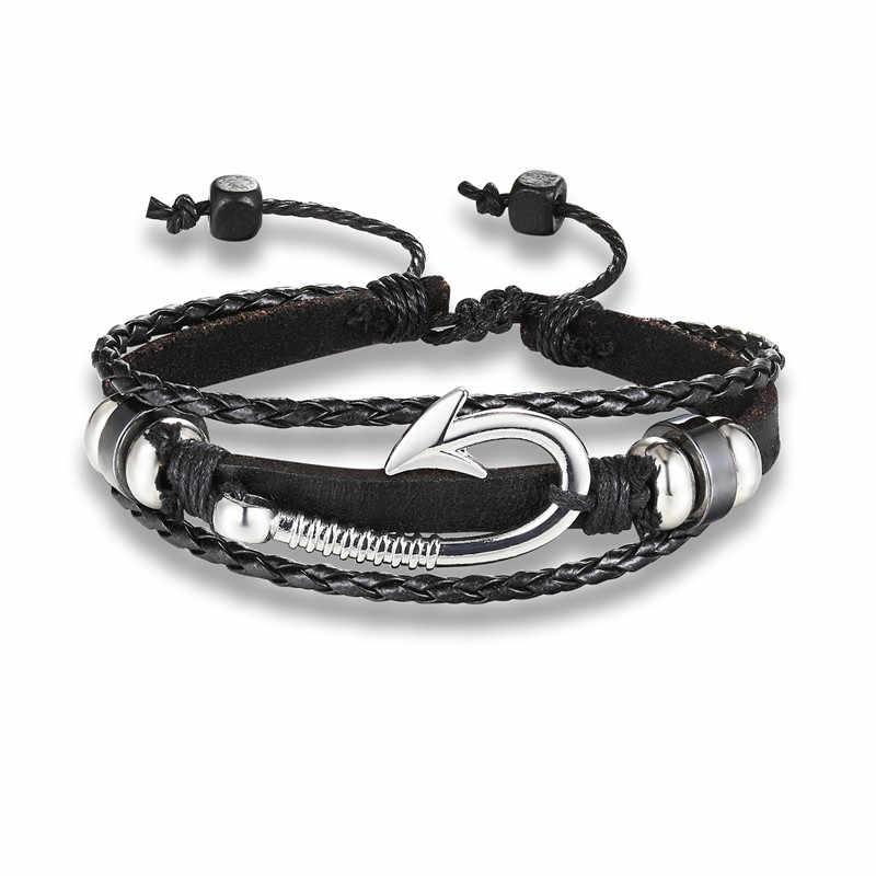 Лидер продаж 2018 Новая мода Якорь браслет из кожи ската для Для мужчин Для женщин друзей подарок pulseira ювелирные изделия по оптовой цене